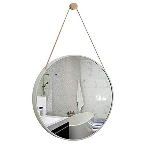 DH JINGZI - Schminkspiegel Hängendes Seil des Spiegelwandbehang-Holzrahmenhaken-Badezimmerdekorationwohnzimmermake-upkunst runder Make-upspiegel (Farbe : Weiß, größe : Durchmesser 40cm)