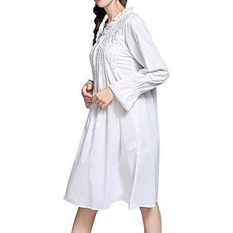 DoreKim Dress delle retro donne a maniche lunghe bianca camicia da notte di cotone Sleepwear pigiama bianco DK3722 (L)