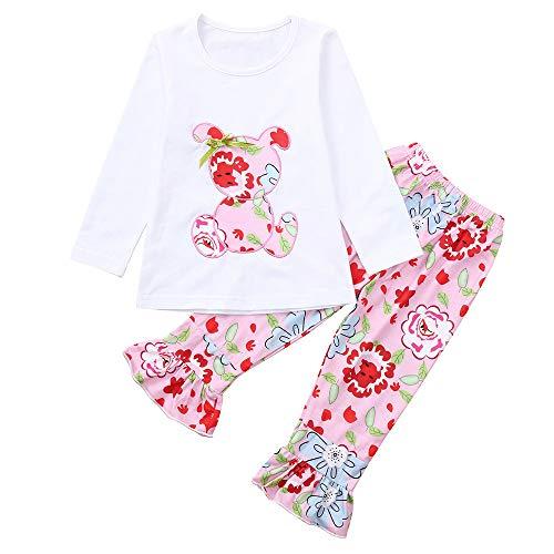 Patifia Bekleidungssets Kinder Baby Mädchen Bekleidungsset Langarm Shirt Drucken Pullover + Pants Leggings Outfits Kleider 2 Stücke Anzug -