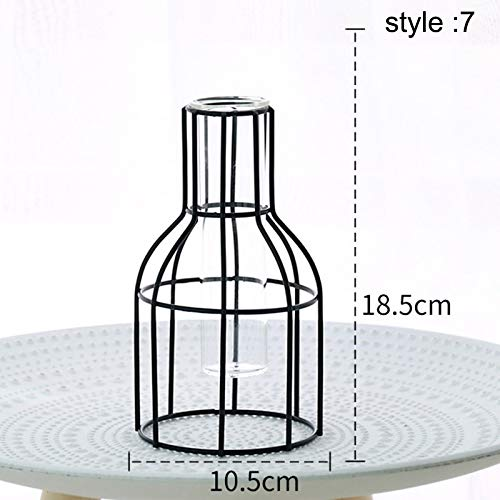 Henreal Vase aus geschmiedetem Eisen, geometrisches Glas, Pflanze aus Hydrokultur, Container, Dekoration des Hauses 7 - Glas Eisen Geschmiedet