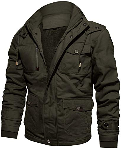 TACVASEN Herren Winter Warme Fleece Kapuzenjacke Cargo Jacke mit Multi-Taschen, M, Armeegrün