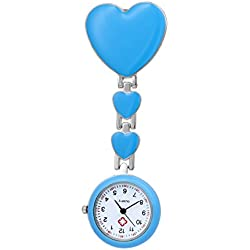 Nurse Lapel Pin Watch Clip-on Fob Brooch Pendant Hanging Blue Heart Watch Pocket Watch
