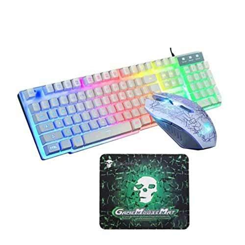 WENZHEN USB Wired Backlit Gaming Keyboard Maus- und Pad-Kit 3-TLG, Weiß