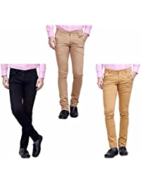 Nimegh Black, Wine And Beige Color Cotton Casual Slim Fit Trouser For Men's (Pack Of 3)
