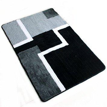 ustide schwarz und grau abstrakt Design Fußmatte für Home Küche und Badezimmer Rutschfeste Acryl Teppiche Langlebig Maschinenwaschbar Bereich Teppich für WC-Bereich Mats 2x 3