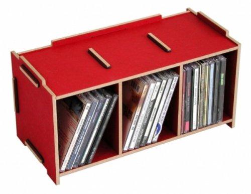 Medienbox CD rot dunkelrot Holzwerkstoff Werkhaus