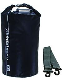 Overboard Wasserdichte Trockenröhrentasche mit verstellbarem Schulterriemen zum Bootfahren, Kajak, Angeln, Rafting, Schwimmen, Camping und Snowboarden, Schwarz ,20 Liter