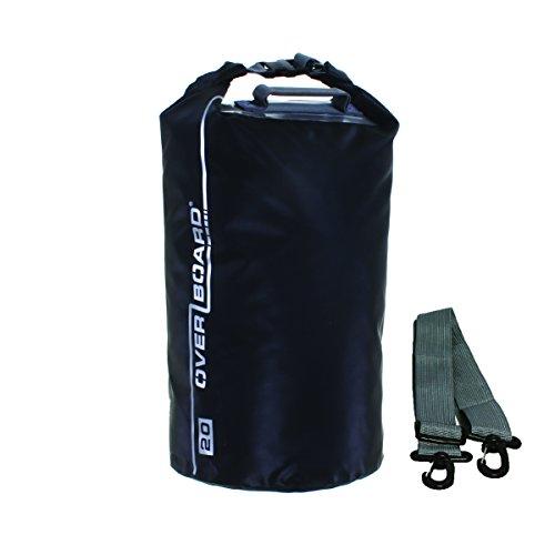 Borsa a tracolla impermeabile con tracolla regolabile per canottaggio, kayak, pesca, rafting, nuoto, campeggio e snowboard, unisex, Waterproof Dry Tube, Black, 20 litri