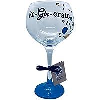 Copa de color azul, Gin y Tonic novedad regalo, Gin grande y cristal tónico, reginerado con detalles de burbujas pintado a mano por memories-like