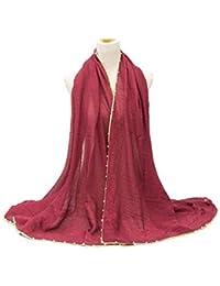 FEMMES   filles brillant froissé effet châle écharpe hijab Grand  surdimensionné MAXI SARONG avec doré passepoil PERLE   bordure Fête de… b157271b46e