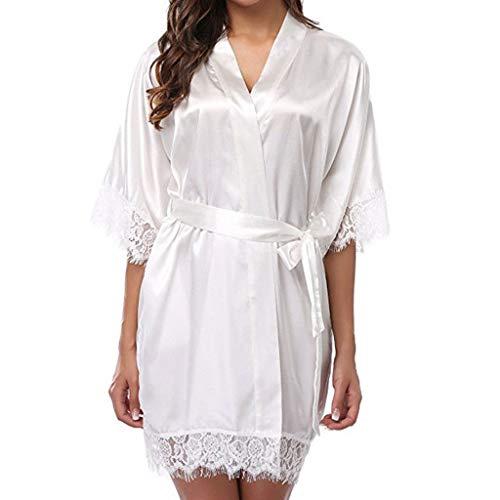 Jagenie abito da sposa sexy da donna corto in ghiacciolo seta sposa vestaglia in pizzo kimono da notte bianco m