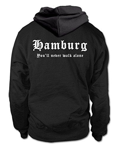 shirtloge-sport Hamburg - You\'ll Never Walk Alone - Fan Kapuzenpullover - Schwarz (Weiß) - Größe L