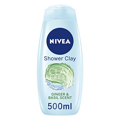 Nivea Clay Fresh Deep Cleansing Shower Gel, Ginger and Basil, Shower Cream, 500 ml, Pack of 6