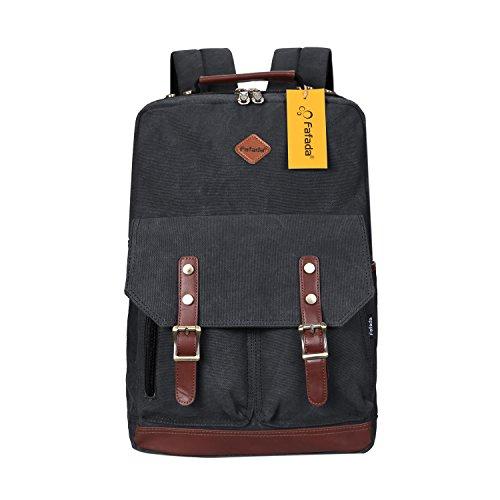 Imagen de fafada  vintage canvas moda unisex laptop  bolso para escuela acampar viajes negro