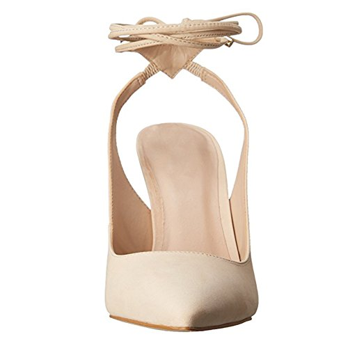 Damen Pumps Spitze Zehen High-Heel Stiletto Fellsamt Knöchelriemchen Slingback Beige