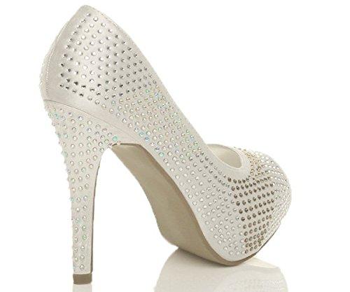 Femmes talon haut bout ouvert sandales chaussures de mariage escarpins taille - Ivory Diamante Satin