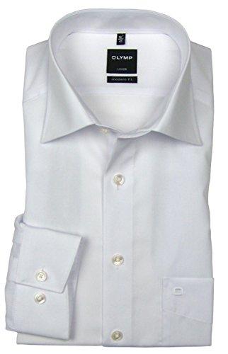 OLYMP Herren Hemd Modern Fit Extralange Ärmel, Weiß, 45 (Extra Lange Ärmel)