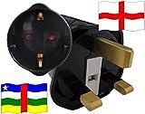 Urlaubs Reiseadapter England für Geräte aus Zentralafrika Kindersicherung und Schutkontakt 250 Volt