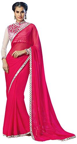 Mahotsav Women's Chiffon Saree (8414, Pink)  available at amazon for Rs.1899