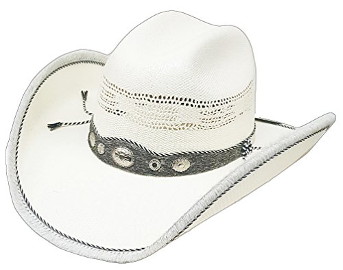 Modestone Straw Chapeaux Cowboy Genuine Cow Leather Hair on Trim   Hatband  White d84a8039375f
