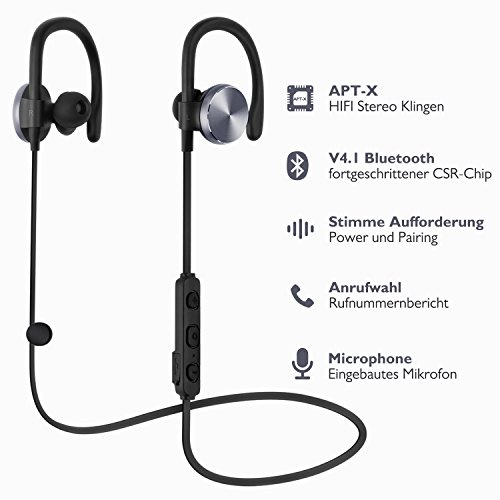 Bluetooth Headphones,COULAX Wireless Earphones Over-Ear Sweatproof for Gym Sports Running with Mic (Bluetooth 4.1, aptX, CVC 6.0 Noise Cancelling, 7 Hours Play Time)