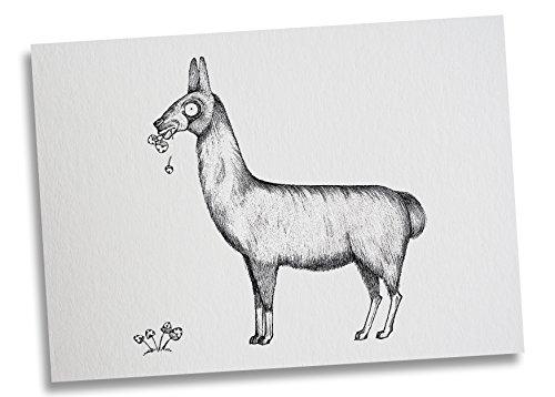 Ligarti Postkarte Lama - Premium Bambus Papier 350g - 100% Handmade in Deutschland - Alpaka Pilze Lustig Tier, Postkarte, Grußkarte, Geschenkkarte, Einladung