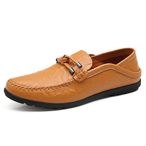 Hommes Chaussures Mocassins en PU Cuir Respirent avec Frange Basse Plat Bout Pointu Léger Respirent Semelle Antidérapant Loisir Derby Jaune
