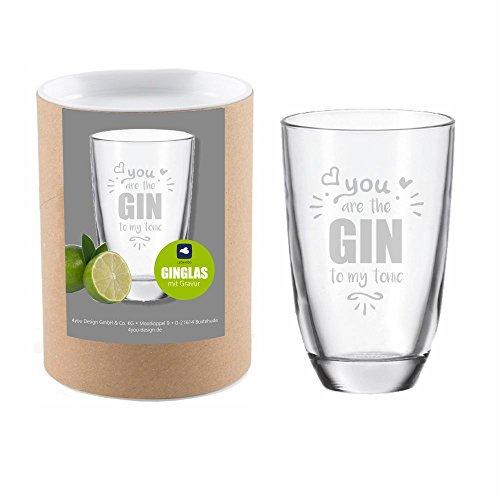 4you Design Leonardo GIN-Glas You are the GIN to my tonic mit Geschenkbox - witzige Geschenkidee - Gin-Tonic - GIN-Liebhaber (You are the GIN to my tonic)