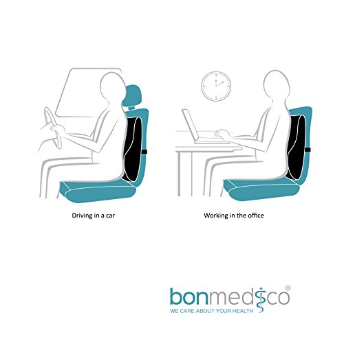 Bonmedico® orthopaedic back pillow, lumbar support cushion, maternity pillow, travel pillow, for auto, home or office, in black