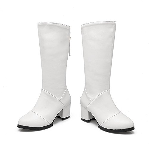 AgooLar Damen Reißverschluss Mittler Absatz Rein Hoch-Spitze Stiefel Weiß