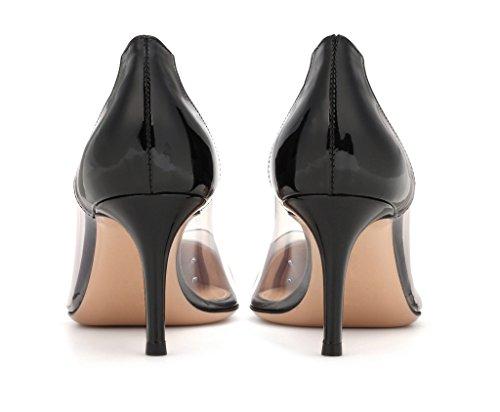 EDEFS Chaussure Femme Transparent Talon Aiguille Stiletto Sandales Soirée À Enfiler Escarpins Taille Black