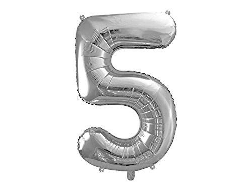 SiDeSo® 1 Folienballon XXL SILBER Heliumgeeignet Party Geburtstag Jahrestag Hochzeitstag Jubiläum Zahlenluftballon Luftballon Zahl (Zahl 5)