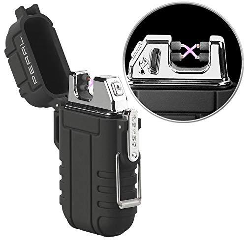 PEARL Sturmfeuerzeug: Elektronisches Feuerzeug mit doppeltem Lichtbogen, Akku, IP56, schwarz (Feuerzeug elektrisch)