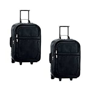 2 X Double Pocket 50cm 20inch Expandable Trolley Travel Case Set Black from Urban Trading