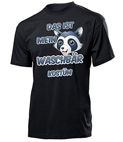Waschbär Kostüm Herren T-Shirt Waschbärkostüm Männer 5260 Karneval Fasching Faschingskostüm Karnevalskostüm Tier Paarkostüm Gruppenkostüm Schwarz ()
