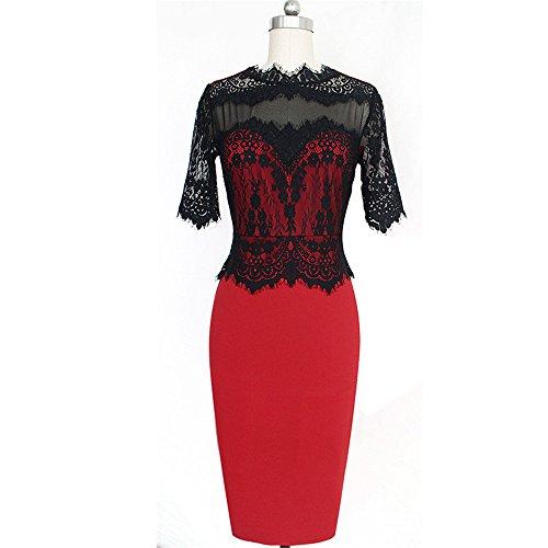 JOTHIN Damen Bodycon Spitze Kleider Knielang Stitching Sommer Partykleid Große Größen Rot