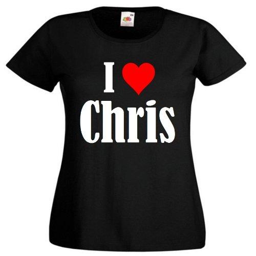 """T-Shirt """"I Love Chris"""" für Damen Herren und Kinder ... in der Farbe Schwarz Schwarz"""