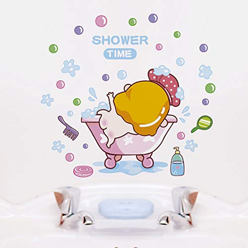 zpbzambm Cartoon Baby Shower Time Wandaufkleber Für Baby Zimmer Bad Glas Dekoration Decals Tapete Dusche Nette Aufkleber