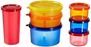 Amazon Brand - Solimo Food Saver Combo - Set of 7 Plastic Lunch Box & Left Over Multi Purpose Containers (535ml x 1, 290ml x 1, 190ml x 1, 350ml x 1, 150ml x 3)