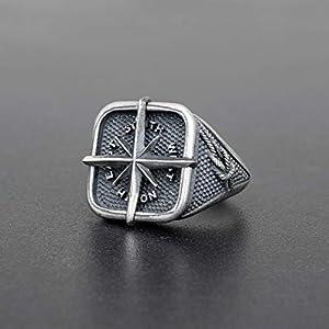 925 Sterling Silber Ring für Männer Ring Männer Schmuck Herren Geschenk Kompass Ring nautischen Ring Vintage Ring Steampunk Ring Gothic Ring antiken Ring