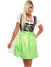4211 Fashion4Young Damen Dirndl 3 tlg.Trachtenkleid Kleid Bluse Schürze Oktoberfest 4 Farben 4 Größen