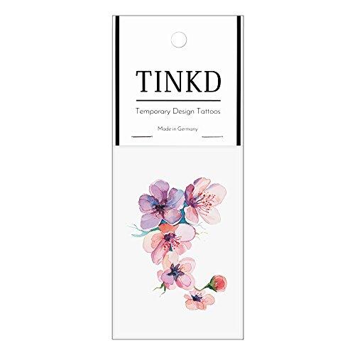 TINKD Temporary Tattoo Watercolor Flowers - Blumen - Hochwertige temporäre Klebetattoos - Made in Germany - Dermatologisch getestet - Design Flash-Tattoos zum Aufkleben
