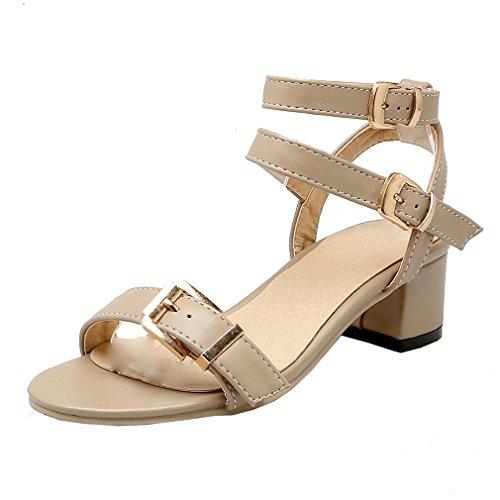 YE Damen Chunky Heels Knöchelriemchen Sandalen Offen mit Schnalle und Blockabsatz 4cm Bequem Schuhe Aprikose
