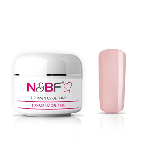 N&BF 1-Phasen-Gel – 3-in-1 UV Gel – All-in-One-Gel – Allround-Gel für Nägel / Gelnägel ohne Säure dickviskos pink milchig 15ml (Gel-nagel)