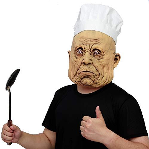 Lustige Chefkoch Erwachsenen Kostüm - CreepyParty Halloween Kostüm Party Latex Menschenkopf