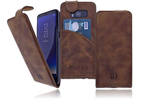 Preisvergleich Produktbild Burkley Samsung G950 Galaxy S8 (G950F) Premium Echt Leder Handy-Tasche Schutz-Hülle Flip Cover Case mit Kreditkartenfach im Vintage / Retro Look in Cognac
