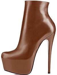 elashe- Stivaletti Donna con Tacco - 15CM Scarpe col Tacco con Plateau -  Classiche Stivaletti 392f458e6ac