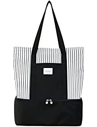 Soonnix Travel Tote Bag Work Lunch Shopping Shoulder Handbag With Insulated Picnic Cooler Top Zipper