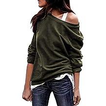 Minetom Mujeres Camiseta Otoño Manga Larga Color Sólido Blusa Elegante Sin Tirantes Camisa Atractivas T-