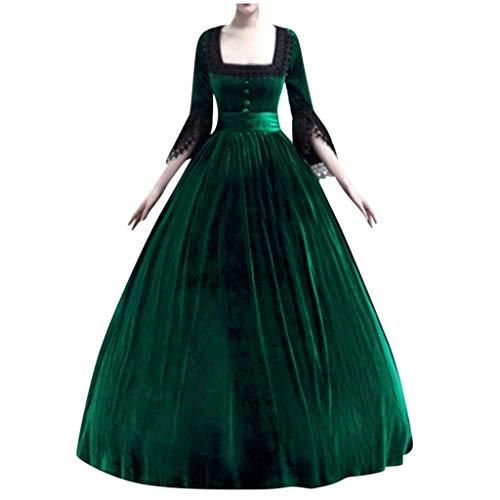 Amphia Damen Prinzessin Kleid mit hohem Taille,Langarm Mittelalter Kleid-Gothic Viktorianischen Königin Kostüm mit Schnürung - Damen Cocktailkleid Hochzeitkleid Abendkleid